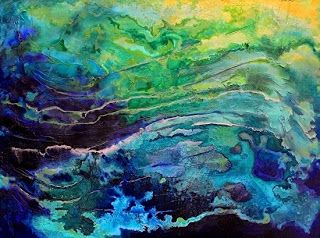 "Abstract Mixed Media Seascape Painting ""Ocean Blue"" by Colorado Artist Carol Nelson"