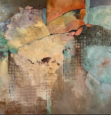 """Abstract Painting, Mixed Media Art """"FOOTHILLS II"""" by Colorado Mixed Media Artist Carol Nelson"""