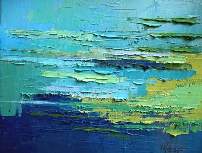 Abstract Seascape Oil Painting, Tropical Waters, Daily Painting, Small Oil Painting, 11x14x1.5