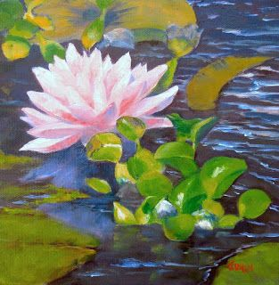 Waterlily, 8x8 Original Oil Painting on Canvas, Floral Painting