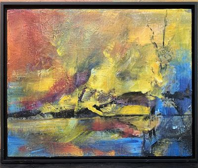 "Abstract Art, Contemporary Painting, ""Sunset Reflection"" by Texas Contemporary Artist Sharon Whisnand"