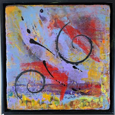 "Encaustic Abstract Art, Mixed Media, Contemporary Painting, ""TIME"" by Texas Contemporary Artist Sharon Whisnand"