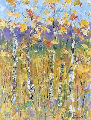 "Palette Knife Impressionist Aspen Tree Landscape Flower Painting ""Rocky Mountain Gold"" by Colorado Impressionist Judith Babcock"