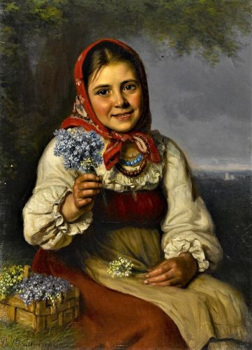 19C Young Smiling Flower Seller