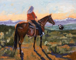 Prodigal Cow - cowgirl western oil painting by Debbie Grayson Lincoln