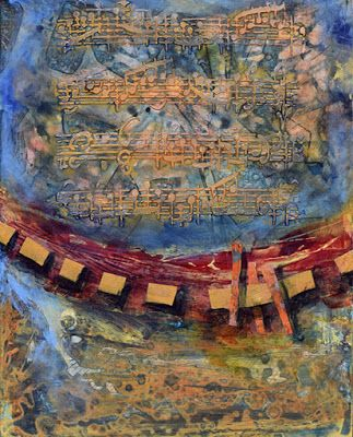 "Contemporary Abstract Mixed Media Painting, Music Art ""Life's Soundtrack"" by Santa Fe Contemporary Artist Sandra Duran Wilson"