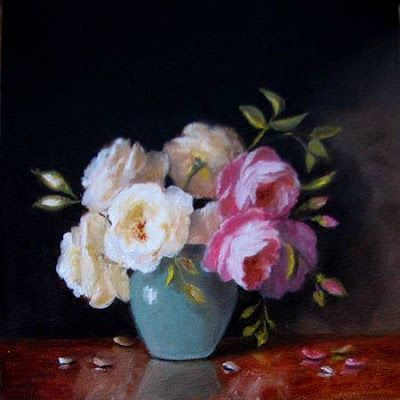 White and pink roses in celadon vase miniature 4x4 oil painting