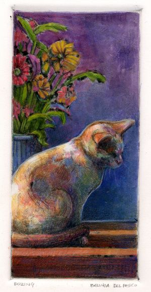 Monotype Ghost Print of a Cat - and links to monotype artists