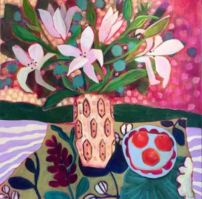 "Bold Expressionist Still Life Flower Art Painting ""Nice to Come Home To"" by Santa Fe Artist Annie O'Brien Gonzales"