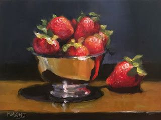 Strawberries in Silver Bowl