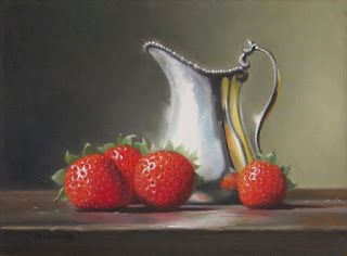 Strawberries and Silver Creamer Encore - SOLD