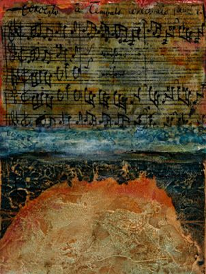 "Mixed Media Abstract Painting, Music Art ""Bach's Bridge"" by Santa Fe Contemporary Artist Sandra Duran Wilson"