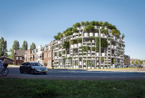 MVRDV Designs Facade of Potted Plants along Dommel River in the Netherlands