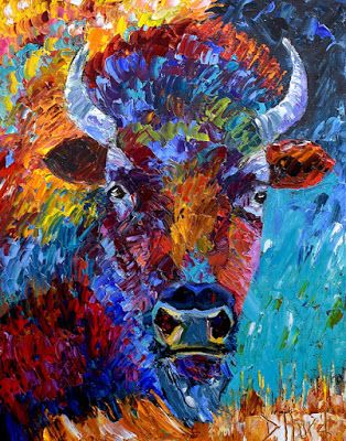 """Buffalo Painting Bison Art Colorful Paintings Texture Palette Knife Artist """"The Wild"""" by Debra Hurd"""