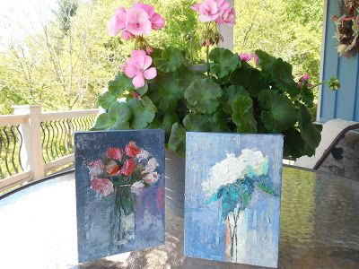 Pair of Floral Paintings, Small Oil Painting, Daily Painting, Palette Knife Flower ART