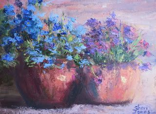 Pots of Blue, Contemporary Still Life Painting by Sheri Jones