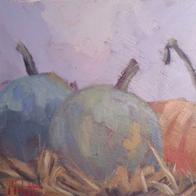 Pumpkins Hello September Original Oil Painting Heidi Malott