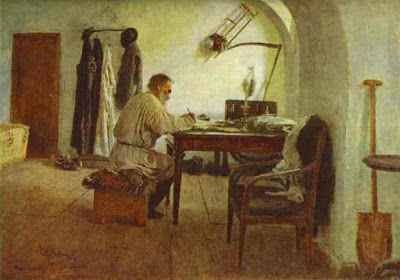 Repin Paints Tolstoy at his Writing Table