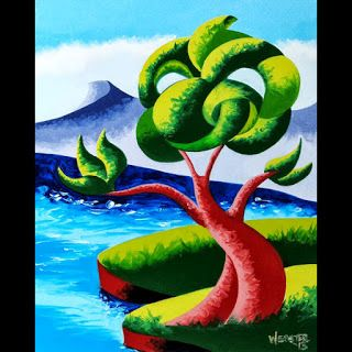 Mark Webster - Abstract Geometric Futurist Landscape Oil Painting 13.9.24