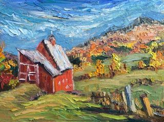 New Red Barn Palette Knife Painting by Niki Gulley