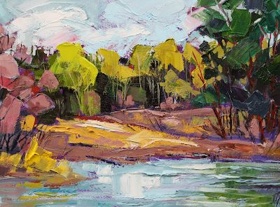 "Impressionist Landscape,Trees, Fine Art Oil Painting ""Rosy Tamarisk"" by Colorado Contemporary Fine Artist Jody Ahrens"
