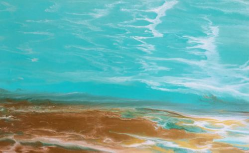 "Contemporary Abstract Seascape, Beach Painting, Fine Art, Coastal ""Emerald Waters IV"" by International Contemporary Artist Kimberly Conrad"
