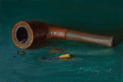 Pipe still life oil painting