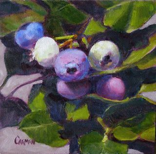Blueberries, Small Daily Painting of Fruit Original Oil on Canvas