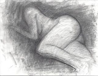 Winter female nude charcoal drawing from life