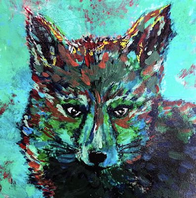 """Swift Fox"" Original Wildlife Fox Colorful Animal Acrylic Painting by Lisa McKinney Kreymborg"