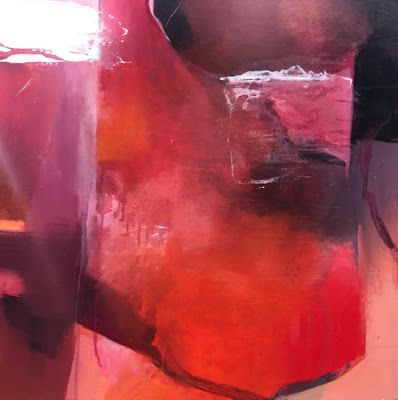 "Red Art,Contemporary Abstract Fine Art Painting ""Dimensions of Passion"" by Intuitive Artist Joan Fullerton"