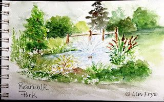 Fountain and Pond at Riverwalk Park - Lin Frye