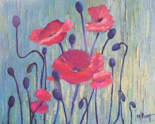 Poppy Painting, Floral Still Life, Flower Still Life Painting, Daily Painting, Small Oil Painting, Daily Painting, Palette Knife Textured Art