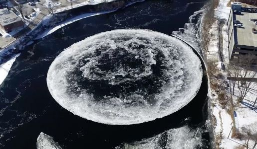 A Gigantic Circular Ice Patch Formed in a River in Westbrook, Maine