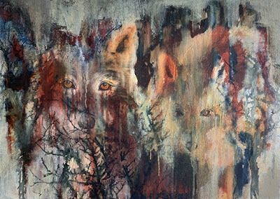 "Contemporary Wildlife Painting, Wolf Painting, Abstract Animal Art, ""Spirit Dreams"" by Contemporary Liz Thoresen"