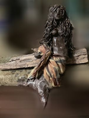 "Sculpture, Figurative Sculpture, Contemporary Art, ""MERMAID ON DRIFTWOOD"" by Florida Contemporary Artist Mary Ann Ziegler"