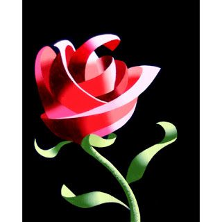 Mark Webster - Abstract Geometric Rose Still Life Painting