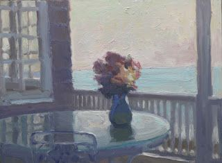 Vase of Flowers and the Back Porch