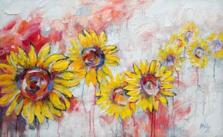 New Large Sunflower Painting by Palette Knife Artist Niki Gulley