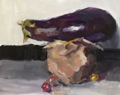 """Eggplant Aloft"" - original still life oil painting"