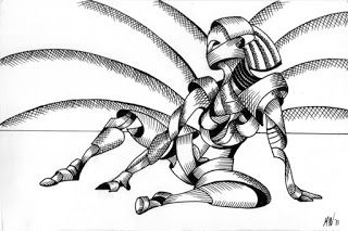 Mark Webster - Abstract Nude Figurative Pen and Ink Drawing