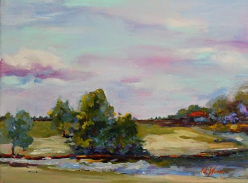 "Georgia Landscape Painting, Impressionist Oil Painting ""Boat House"" by Georgia Artist Pat Warren"