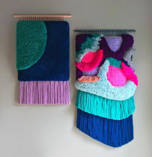 Improvised Wall Tapestries Crafted with Vibrant Thread Combinations