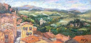 "New ""Valley Overlook"" Tuscany Palette Knife Oil Painting by Niki Gulley"