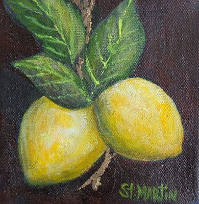 "Still Life Painting, Fruit, ""Got Lemons"" by Florida Impressionism Artist Annie St Martin"