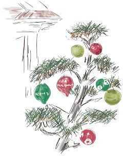Virtual sketchcrawl - Trees dressed up for the holidays