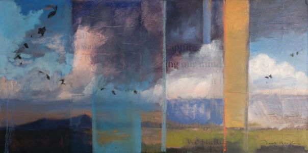 Contemporary mixed media southwestern landscape 'walking captures and releases my mind' by dawn chandler