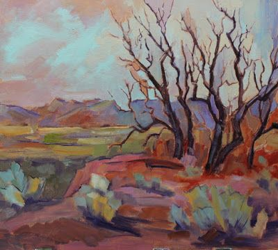 """Contemporary Impressionist Landscape Painting, Fine Art Oil Painting """"Dormant Trees"""" by Colorado Contemporary Fine Artist Jody Ahrens"""