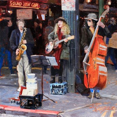 """Seattle Buskers"" Seattle city oil painting by Robin Weiss"