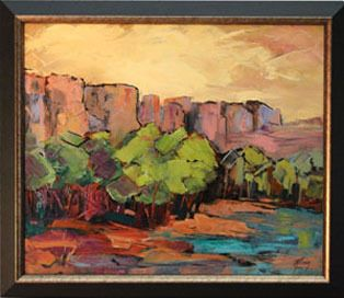 Rock, Cliffs, Fine Art Oil Painting, Arizona Landscape, Impressionist Landscape